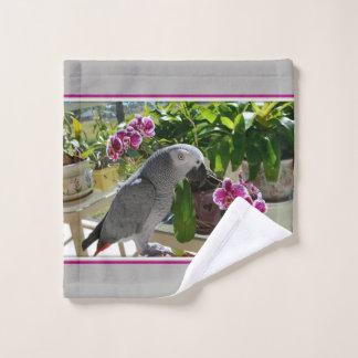 Conjunto De Toalhas Papagaio do cinza africano com orquídeas