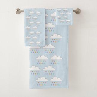 Conjunto De Toalhas Pingos de chuva felizes coloridos das nuvens