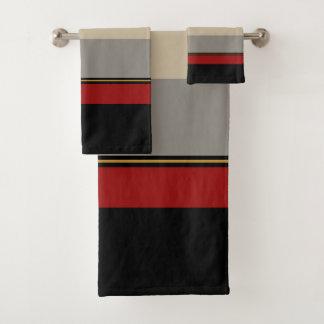 Conjunto De Toalhas Preto, vermelho, cinzas e tan