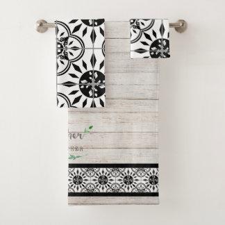 Conjunto De Toalhas Recolhimento de madeira de Shiplap do azulejo do