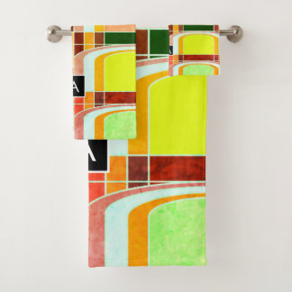 Conjunto De Toalhas Retro Funky colorido inspirado