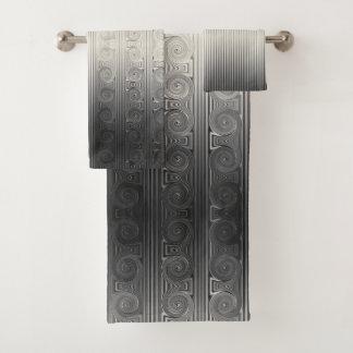 Conjunto De Toalhas Rolo da coluna e linha iónicos gregos cinza de