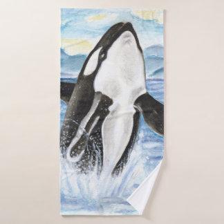 Conjunto De Toalhas Rompimento da baleia da orca da aguarela