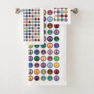 Conjunto De Toalhas Símbolos de paz coloridos