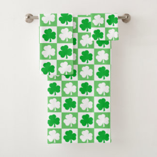 Conjunto De Toalhas Tabuleiro de damas irlandês verde e branco dos