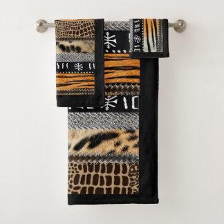 Conjunto De Toalhas Tecido animal africano da pele e design do motivo