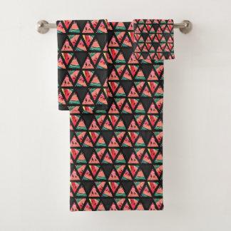Conjunto De Toalhas Teste padrão abstrato tirado mão da melancia