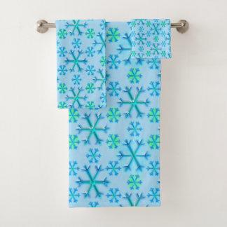 Conjunto De Toalhas Teste padrão azul e branco do hexágono do floco de