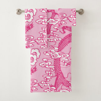 Conjunto De Toalhas Teste padrão chinês cor-de-rosa do dragão