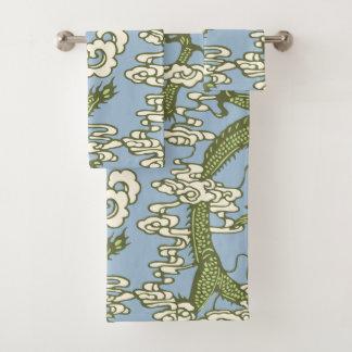 Conjunto De Toalhas Teste padrão chinês do dragão do verde azul