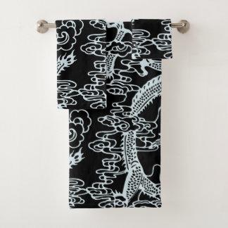Conjunto De Toalhas Teste padrão chinês preto cinzento do dragão