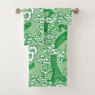 Conjunto De Toalhas Teste padrão chinês verde do dragão