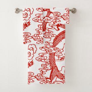Conjunto De Toalhas Teste padrão chinês vermelho do dragão