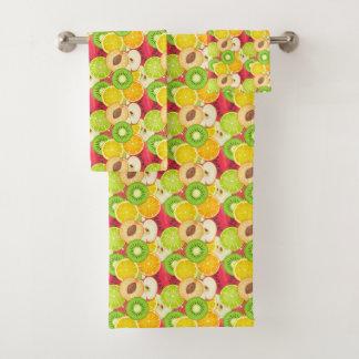 Conjunto De Toalhas Teste padrão colorido da fruta do divertimento
