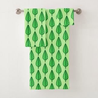 Conjunto De Toalhas Teste padrão da folha da faia, máscaras do verde