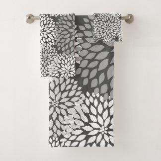 Conjunto De Toalhas Teste padrão floral da dália cinzenta moderna,