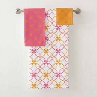 Conjunto De Toalhas Teste padrão floral moderno do rosa e do amarelo
