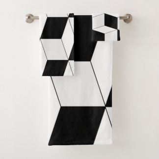 Conjunto De Toalhas Teste padrão geométrico abstrato - preto e branco.
