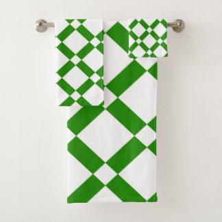 Conjunto De Toalhas Teste padrão geométrico abstrato - verde e branco