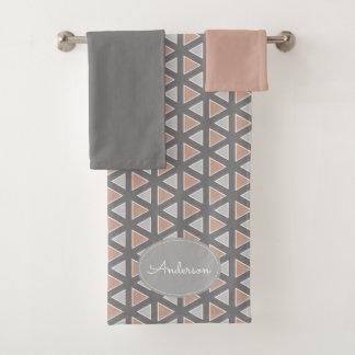Conjunto De Toalhas Teste padrão geométrico na moda personalizado das