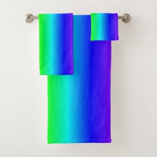 Conjunto De Toalhas Teste padrão listrado do arco-íris colorido do