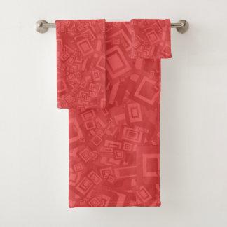 Conjunto De Toalhas Teste padrão moderno do vermelho do abstrato do