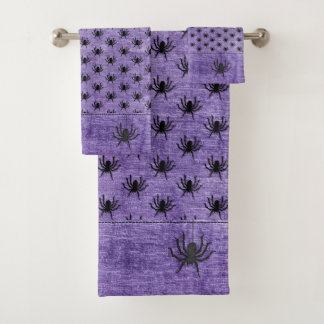 Conjunto De Toalhas Textura enorme do roxo do teste padrão da aranha