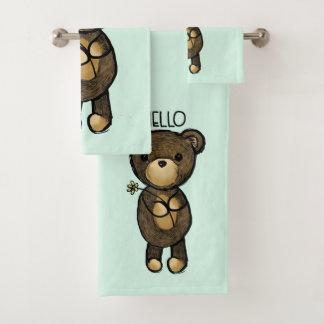 Conjunto De Toalhas Urso de Brown bonito que guardara uma flor amarela