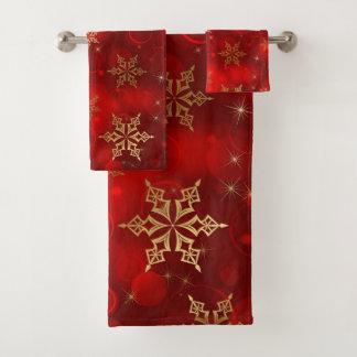 Conjunto De Toalhas Vermelho com flocos de neve do ouro