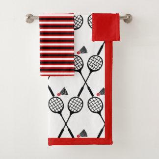 Conjunto De Toalhas Vermelho do preto das listras da raquete & do