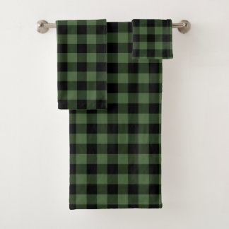 Conjunto De Toalhas Xadrez preta verde do lenhador