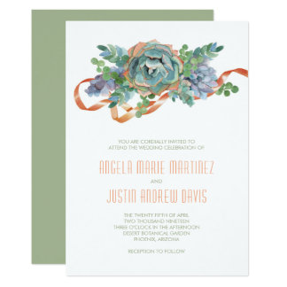 Conjunto do Succulent da aguarela que Wedding 2 Convite 12.7 X 17.78cm