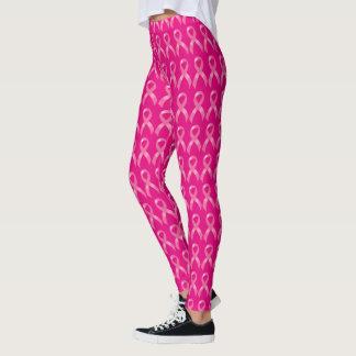 Consciência cor-de-rosa do cancro da mama da fita leggings