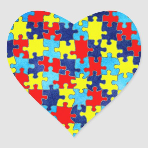 Consciência do autismo adesivo de coração