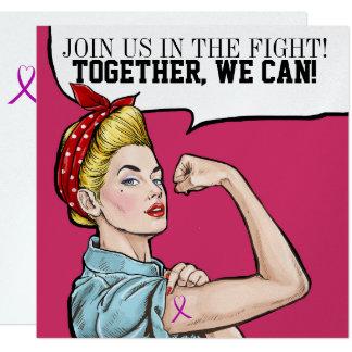 Consciência do cancer - convite cor-de-rosa da