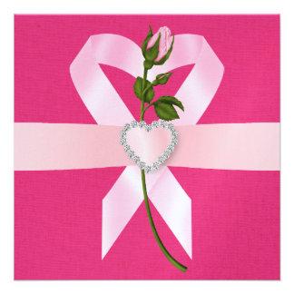 Consciência do cancer - fita cor-de-rosa convites personalizados