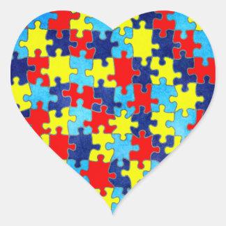 Consciência-Quebra-cabeça do autismo por Shirley Adesivo Coração