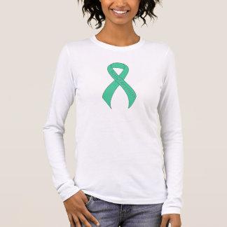Consciência verde do apoio da fita da hortelã camiseta manga longa