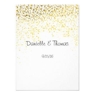 Conselho do casamento, elegante, confete do ouro convite 13.97 x 19.05cm