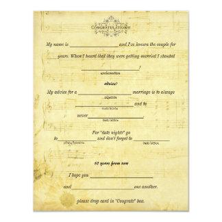 Conselho do casamento, palavras da partitura da convite 10.79 x 13.97cm
