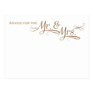 Conselho do casamento para o Sr. e a Sra. pia Cartão Postal