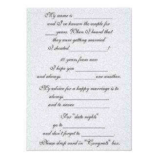 Conselho engraçado do casamento para a noiva & o convite 13.97 x 19.05cm