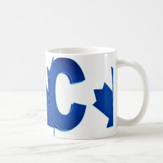 Conservadores canadenses azuis e caneca branca do
