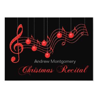 Considerando vermelho do piano do Natal do laço Convites Personalizados