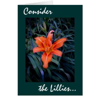 Considere o cartão de Lillies 22