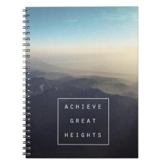 Consiga o caderno espiral das grandes alturas