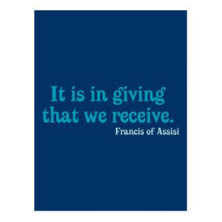 Consiste na doação essa nós recebe Francisco de As Cartoes Postais