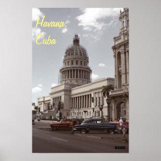 Construção de Capitolio, poster de Havana, Cuba