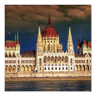 Construção húngara do parlamento em Budapest, Convite Quadrado 13.35 X 13.35cm