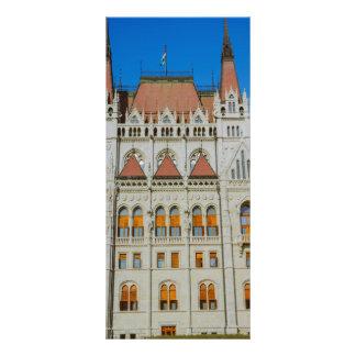 Construção húngara do parlamento 10.16 x 22.86cm panfleto